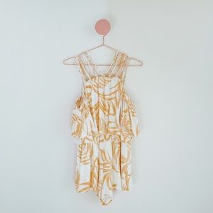 MINKPINK White and Yellow Off-the-Shoulder Romper